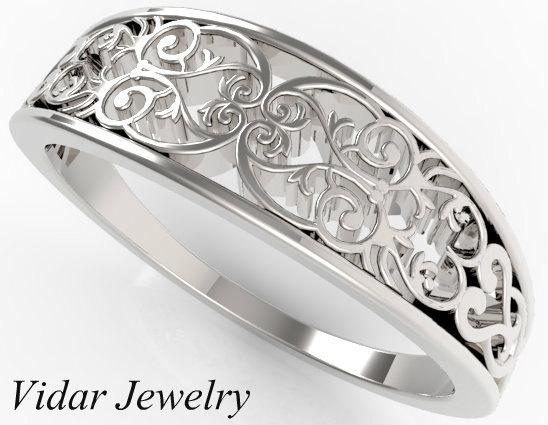 Elegant Lace Sterling Silver Women Wedding Ring