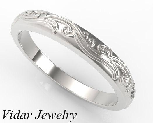 Leaves Engraved 14k White Gold Women Wedding Ring