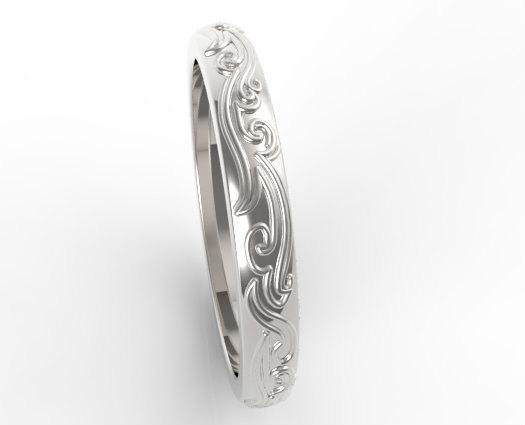 Leaves Engraved 14k White Gold Women Wedding Ring