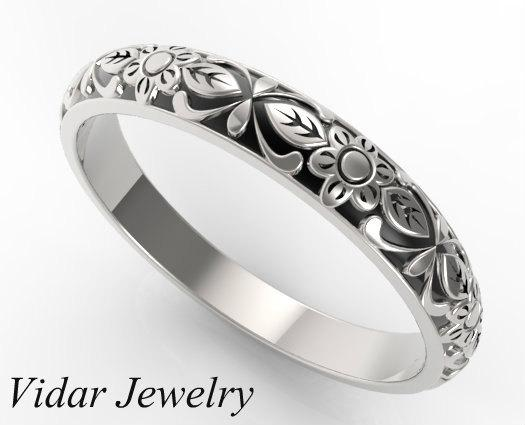Beautiful Flower Engraved 14k White Gold Women Wedding Ring