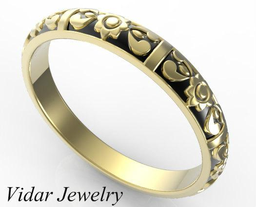 Beautiful Flower Engraved 14k Yellow Gold Women Wedding Ring