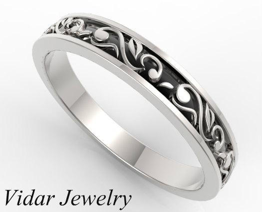 Beautiful Leaves Engraved 14k White Gold Women Wedding Ring