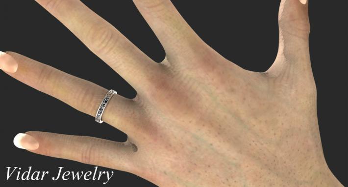 Beautiful Leaves Engraved 14k White Gold Women Wedding Ring