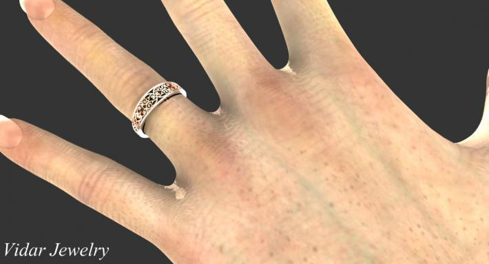 Beautiful Lace 14k Rose Gold And 14k White Gold Women Wedding Ring