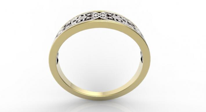 Beautiful Lace 14k Yellow Gold And 14k White Gold Women Wedding Ring