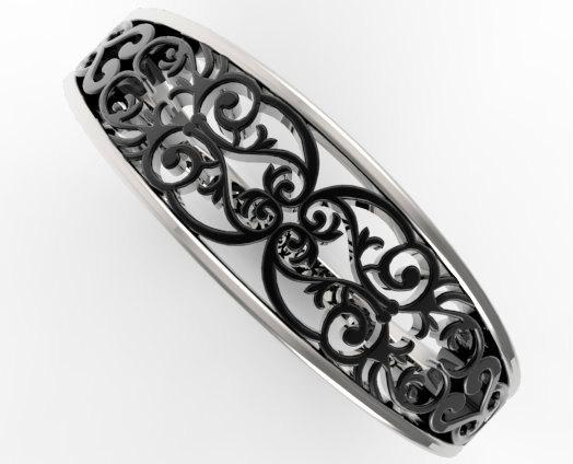 Beautiful Lace 14k Black Gold And 14k White Gold Women Wedding Ring