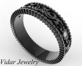 Elegant Diamond 14k Black Gold Women Wedding Ring