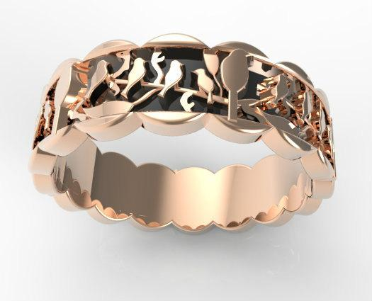 Elegant 14k Black Gold And 14k Rose Gold Birds Women Wedding Ring