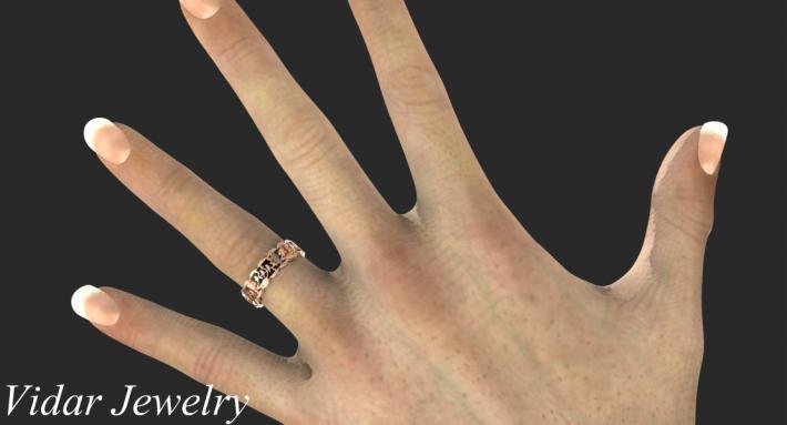 Elegant 14k Black Gold And 14k Rose Gold Birds Women Wedding Ring
