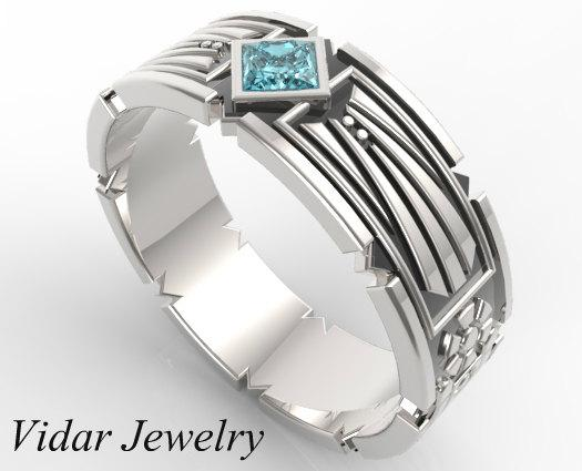 Beautiful Sterling Silver And Blue Aquamarine Men Wedding Ring