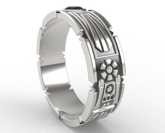 Beautiful Sterling Silver And Blue Aquamarine Men Wedding Ring