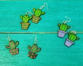 Wood Cactus Earrings