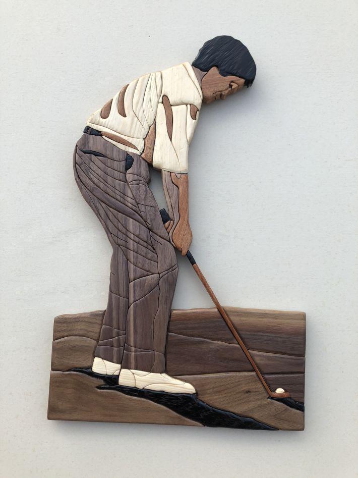 Intarsia Golfer Wood Art