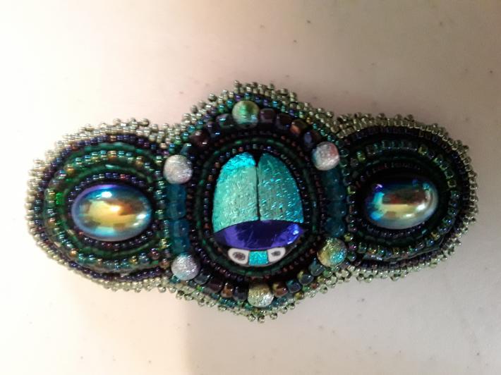 Iridescent Turquoise Beetle Barrette