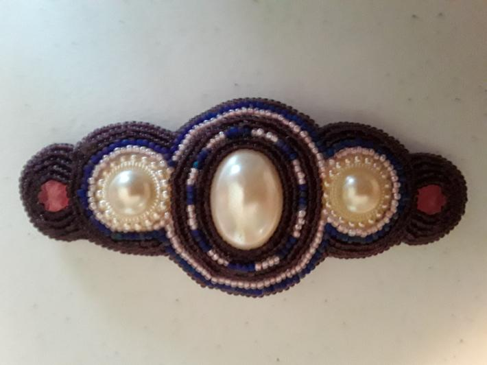 Pearls Pink and Maroon Barrette
