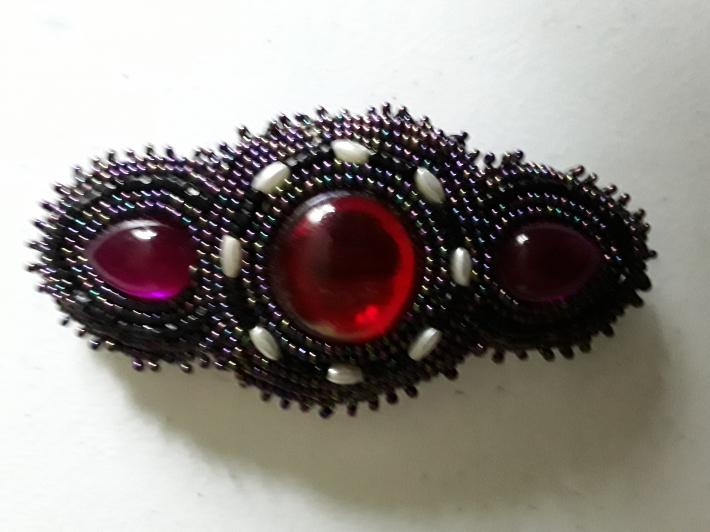 Ruby Red Purple and Iridescent Barrette