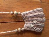 Mauve Knitted Beaded Tiny Bag