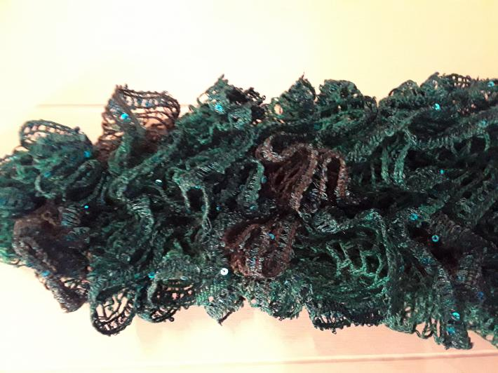 Bright Green Sequined Knit Scarf