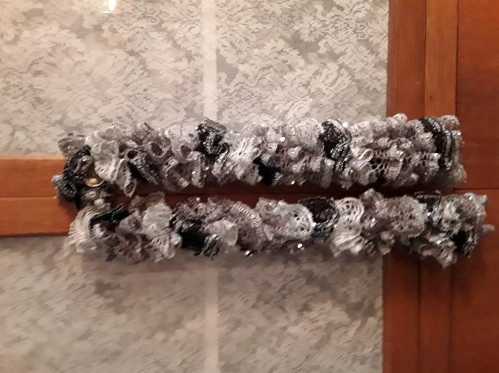 Black Cream and Tan Sequined Knit Scarf