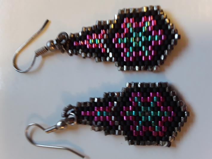 Pink Turquoise Silver Black Beaded Earrings