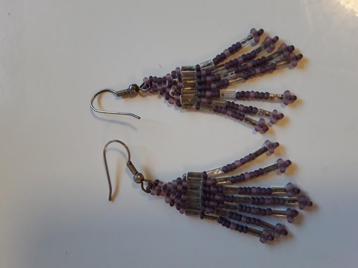 Medium Dark Purple with Silver Beaded Earrings