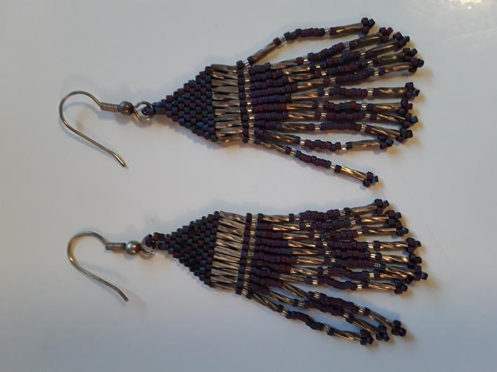 Purple Blue with a Twisted Silver Beaded Earrings