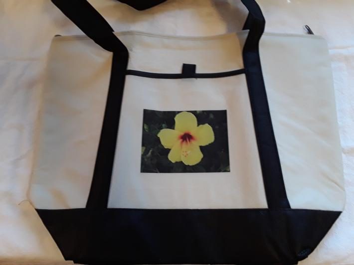 Yellow Hibiscus Flower Canvas Tote Bag
