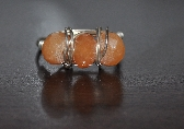 Red Aventurine and Sterling Silver Wire Wrapped Ring Size 8