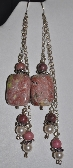 Pink Lepidolite Rhodonite Swarovksi Sterling Earrings