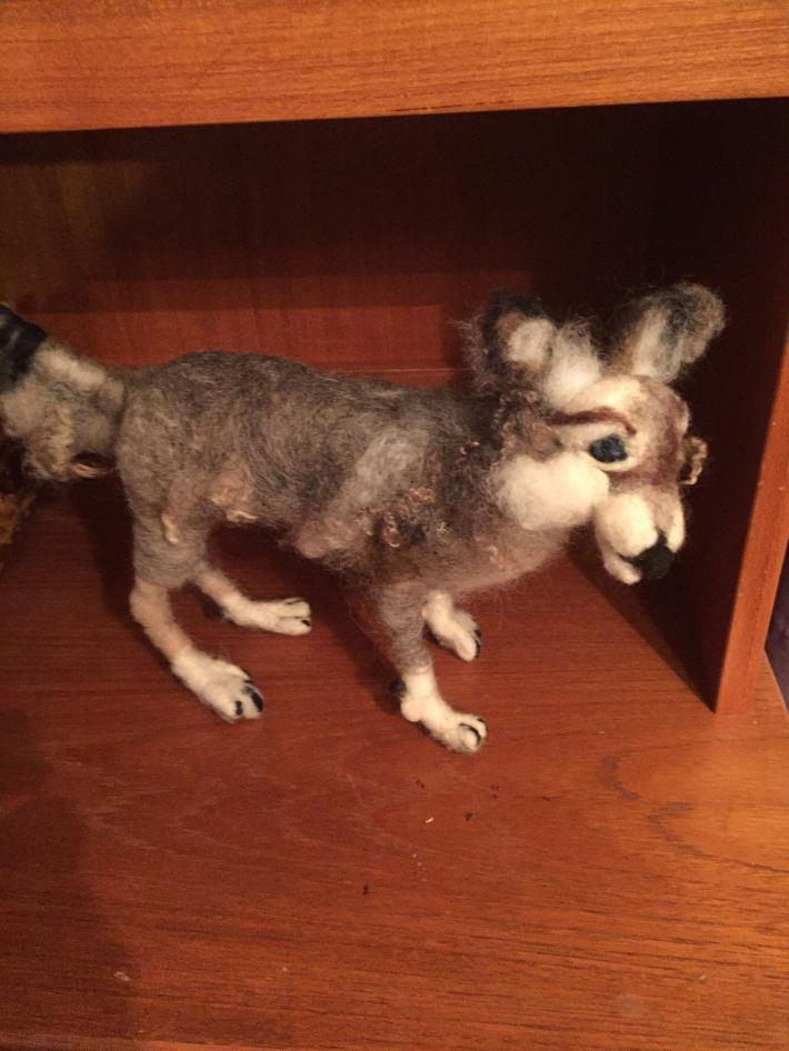 Wool felted wolf