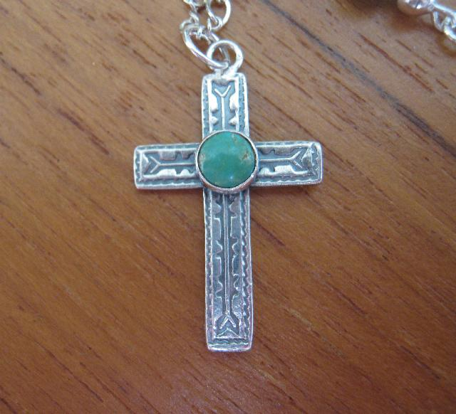Sterling Silver and Genuine Turquoise Cross