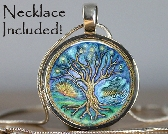 Tree of Life Silver and Resin Pendant with Necklace and Matching Gift Tin