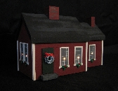 Lighted Houses Cape Style Country Red