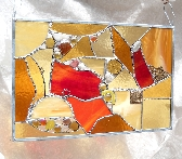 Stained Glass Panel Crazy Quilt in Gold and Amber