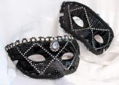On Sale Matching Black Velour Masquerade Masks