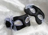 Black Brocade White Trim Couples Matching Masquerade Masks