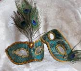 Couples Matching Peacock Green Brocade Masquerade Masks
