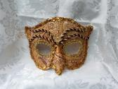 Gold Brocade Leather Owl Masquerade Mask with Red Trim