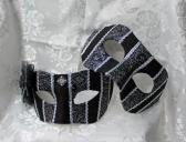 Couples Black and Silver Striped Brocade Masquerade Ball Masks