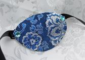 Blue and Silver Satin Brocade Pirate Eye Patch with Gemmed Rivets
