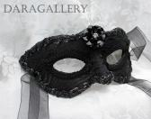 Black Brocade and Leather Party Prom Masquerade Mask