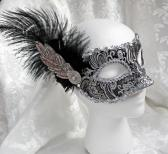 Metallic Black and Silver Brocade Masquerade Mask with Feather Facinator