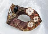 Metallic Bronze Brown and Gold Brocade Masquerade Mask with Flower Appliques