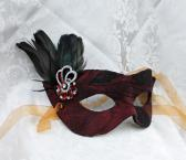 Dark Red Taffeta and Leather Masquerade Mask