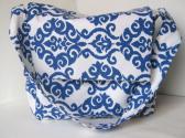 Blue damask messenger diaper bag