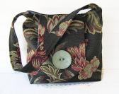 Black Floral Slouch Tote Medium Shoulder Bag