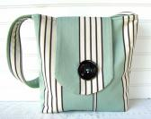 Slouch Tote Medium Shoulder Bag Blue and White Stripe