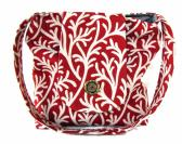 Red and White Slouch Tote Bag Shoulder Purse