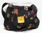 Black Embroidered Hobo Bag Small Shoulder Purse