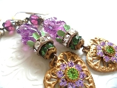 Lavender Flower Dangle Earrings Vintage Repurposed Assemblage Upcycled Handmade Jewelry Green Purple Glass Bead Rhinestone